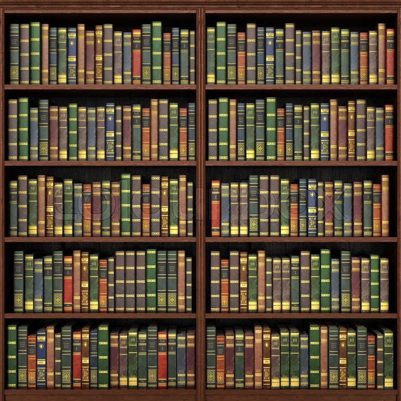 Bookshelf full of books background Old library