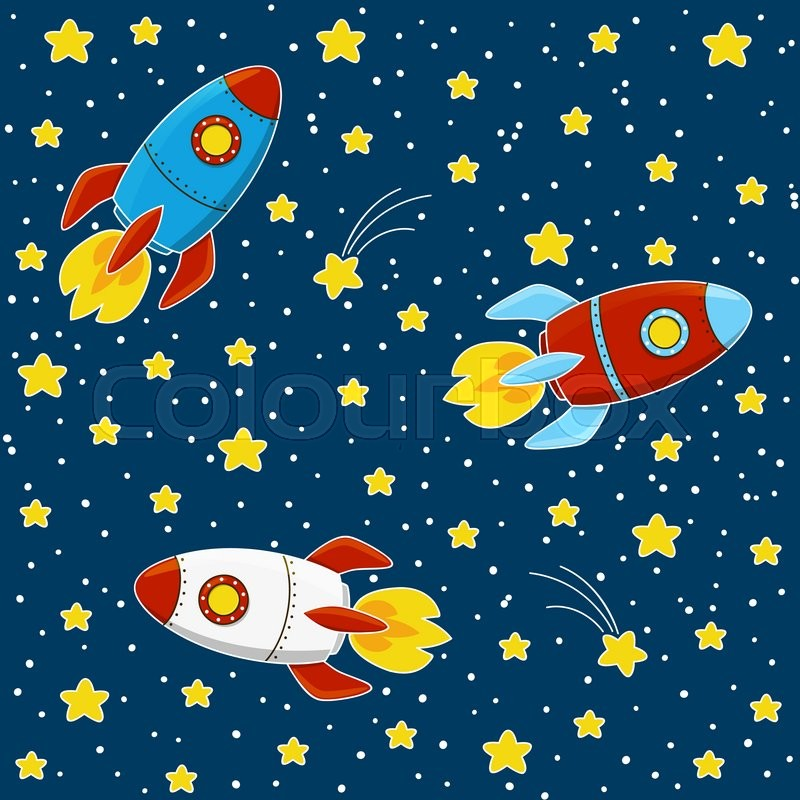Cartoon Rockets On Space Background Stock Vector Colourbox