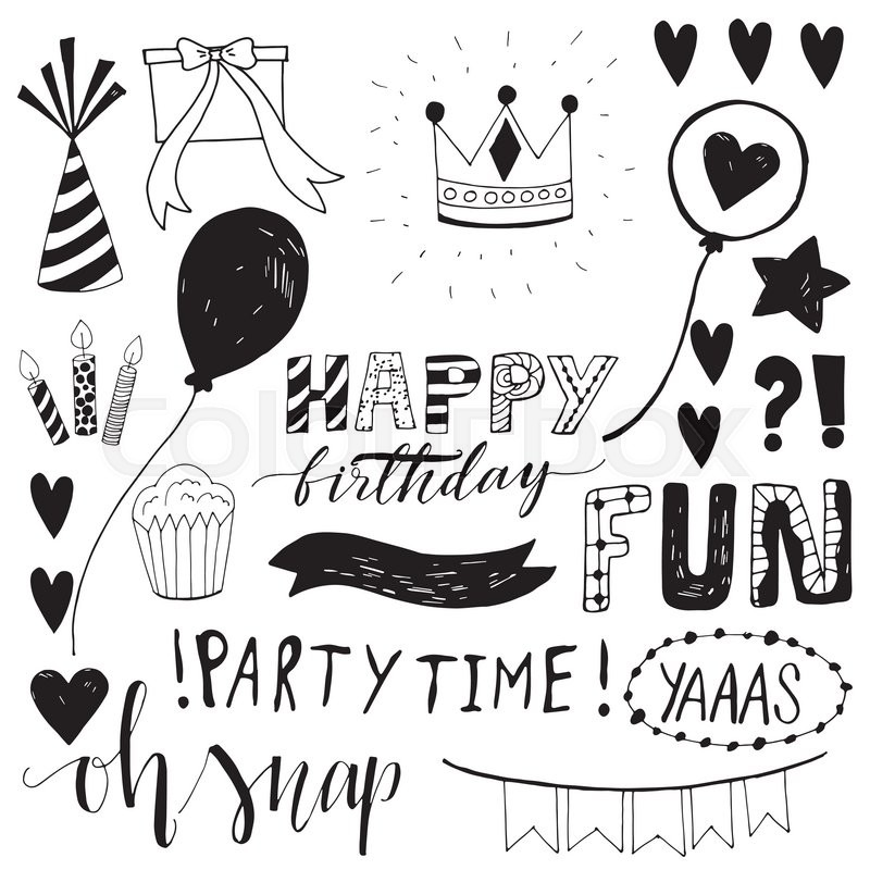 Happy Birthday Party Hand Drawn Scetch Elements Funny