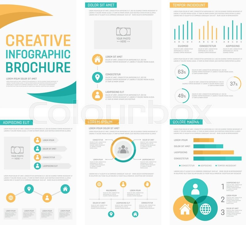vector template for multipurpose presentation slides with graphs and