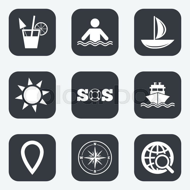 Cruise Trip Ship And Yacht Icons Travel Cocktail And Sun Signs