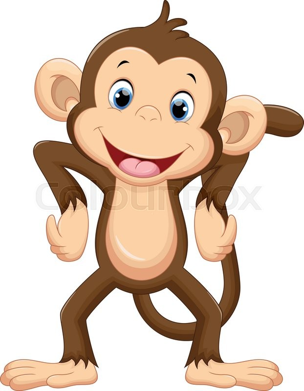 Illustration of cute monkey cartoon | Vector | Colourbox