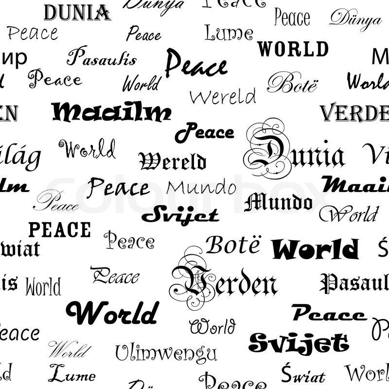 Peace seamless wallpaper with the word peace in different seamless wallpaper with the word peace in different languages stock vector colourbox m4hsunfo