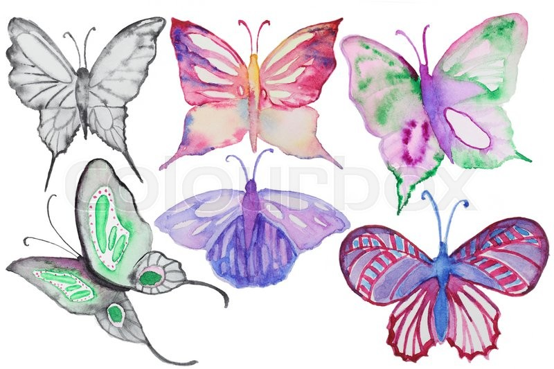 Stock image of 'Watercolor multicolor butterflies set isolated on white. Hand painted watercolor butterflies multicolored for making greating cards, invitation design and other art project'