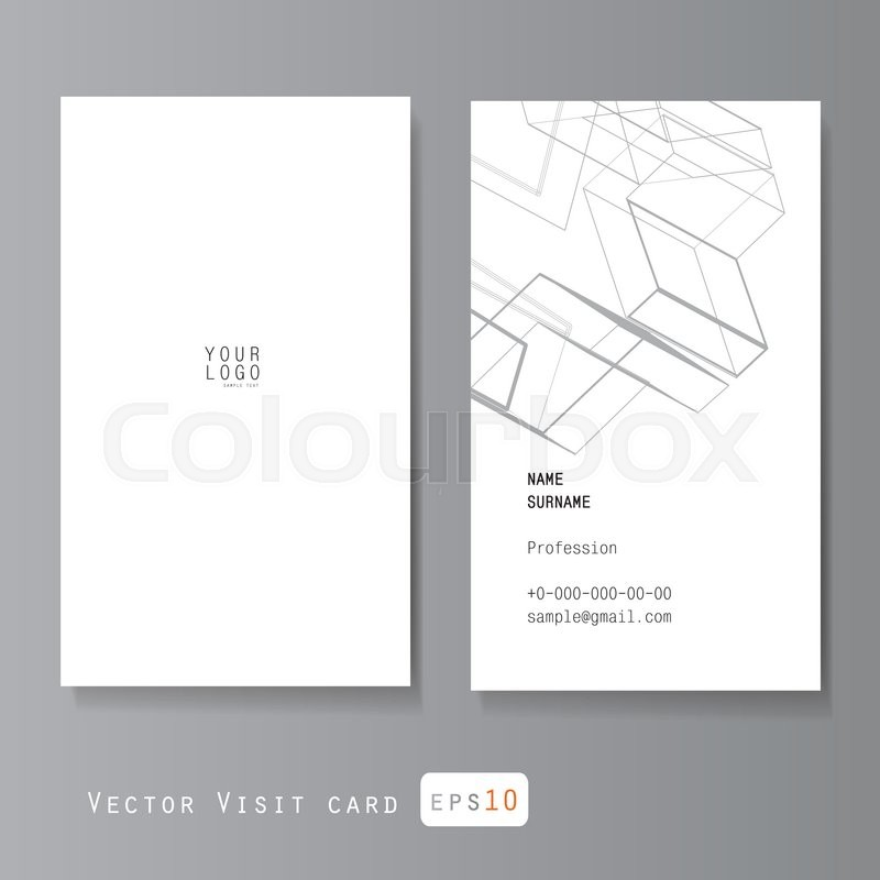 Modern simple business card vector template, with abstract outline ...