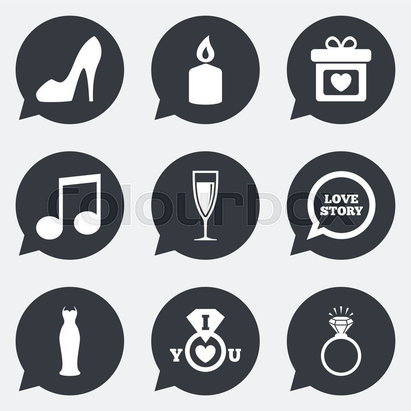Wedding Engagement Icons Ring With Diamond Gift Box And Music Signs Dress Shoes Champagne Glass Symbols Flat In Speech Bubble Pointers
