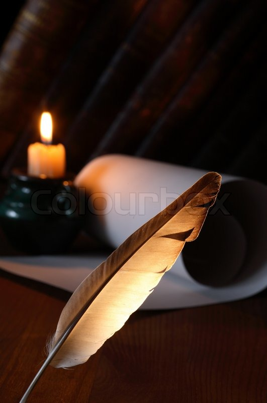 Closeup Of Quill Pen Standing On Dark Background With