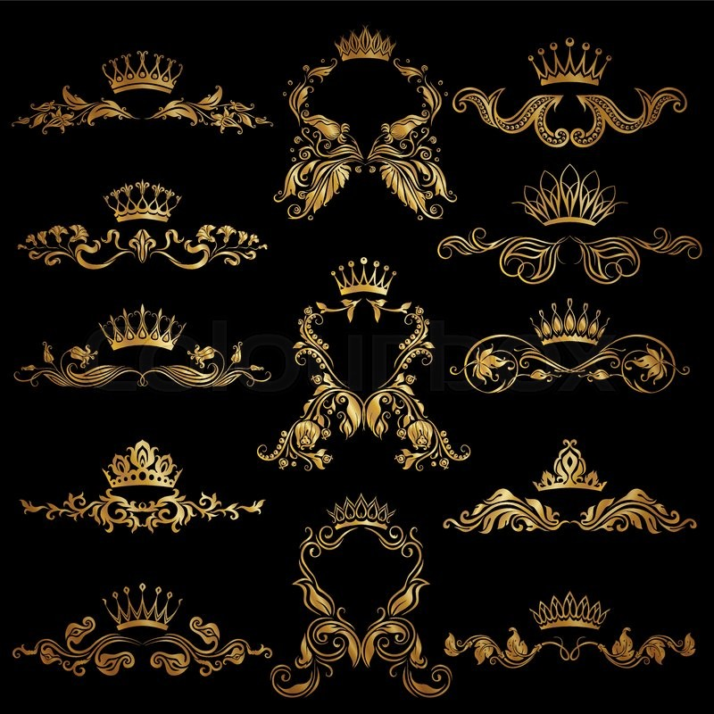 Set Of Gold Monogram For Graphic Design On Black