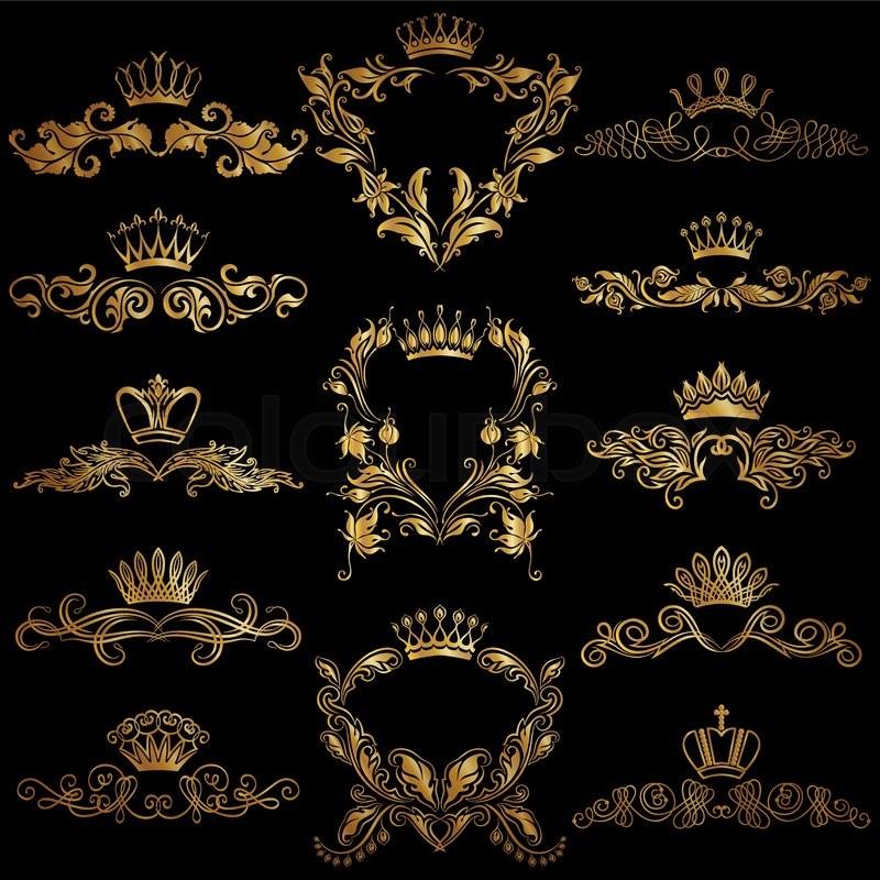 Set of gold monogram for graphic design on black background royal royal graceful frame filigree border crown floral element in vintage style for wedding invitation card logo vector illustration eps10 vector stopboris Images