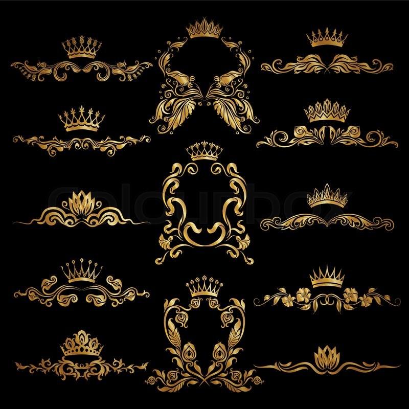 Set Of Gold Monogram For Graphic Design On Black