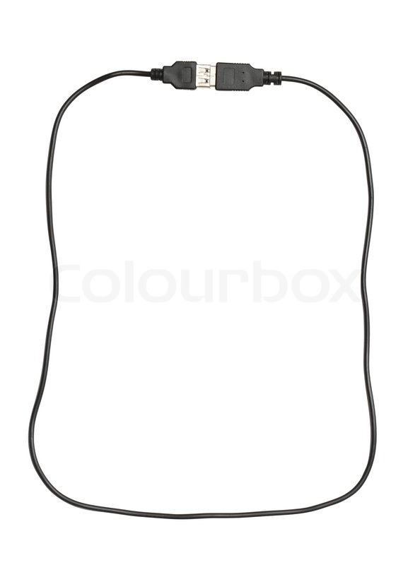 frame made from black usb cable isolated on white background with clipping path