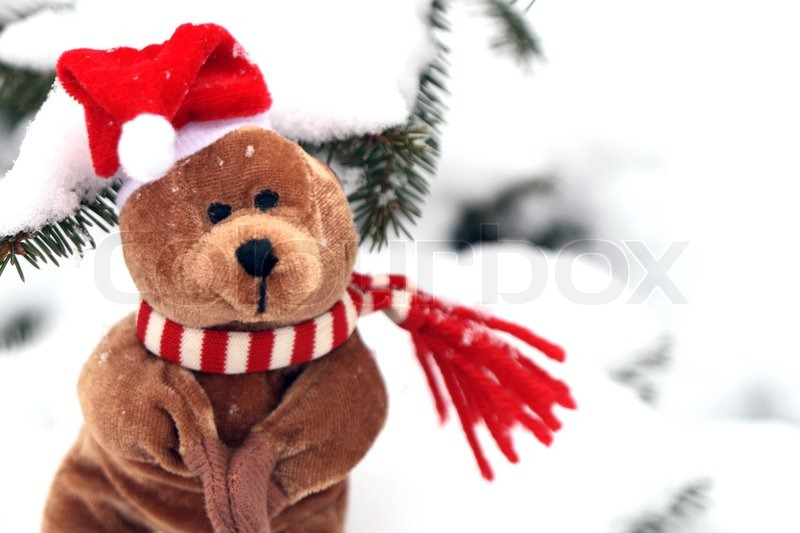 christmas teddy bear auf den hintergrund mit schnee und stock foto. Black Bedroom Furniture Sets. Home Design Ideas