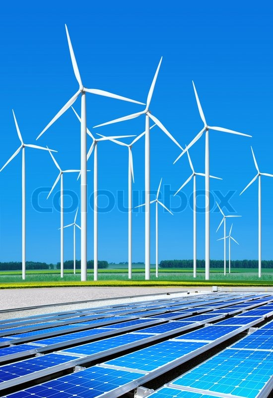 Stock image of 'Environmentally benign solar panels and wind turbines ...