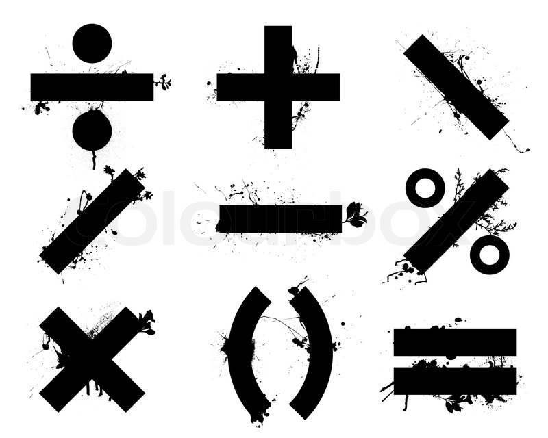 Math signs black and white