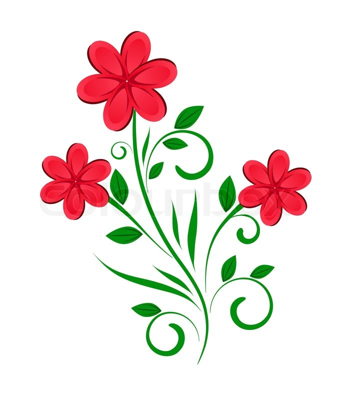Red flowers border vector stock image - Vector Floral Design Abstract Flower Stock Vector