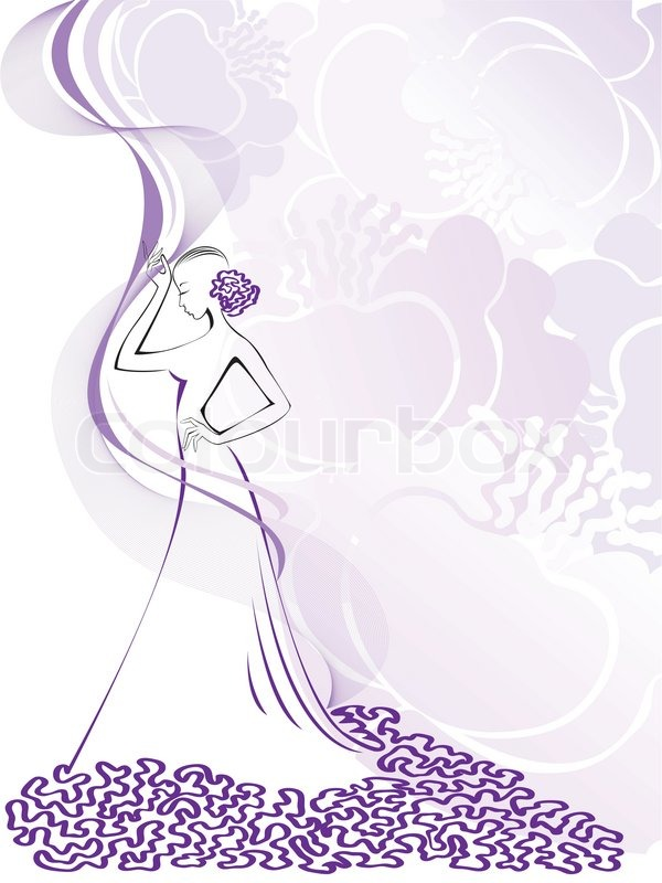 silhouette of a slender woman in a pink floral whirlwind  stock, Natural flower