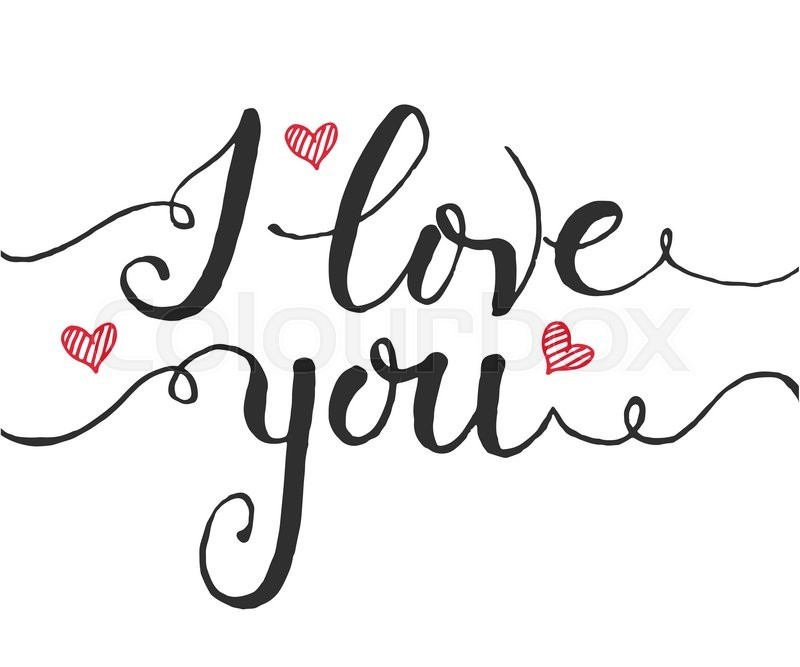 Hand Sketched I Love You Text As Valentine S Day Logotype Badge And
