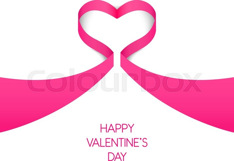 happy valentines day card template heart from pink ribbon design element in vector stock vector colourbox
