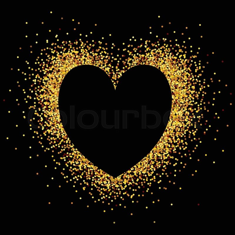 Hand Sketched Glitter Golden Heart Background For