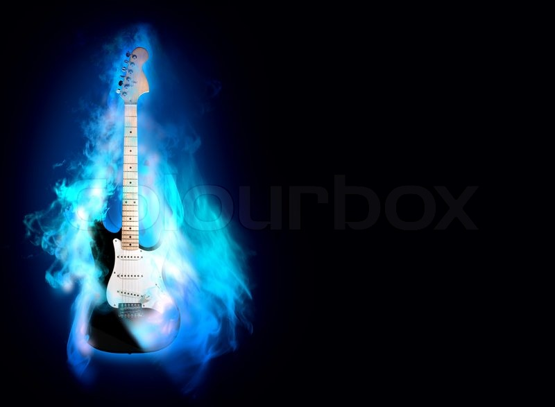elictric guitare in blue flames on a black background