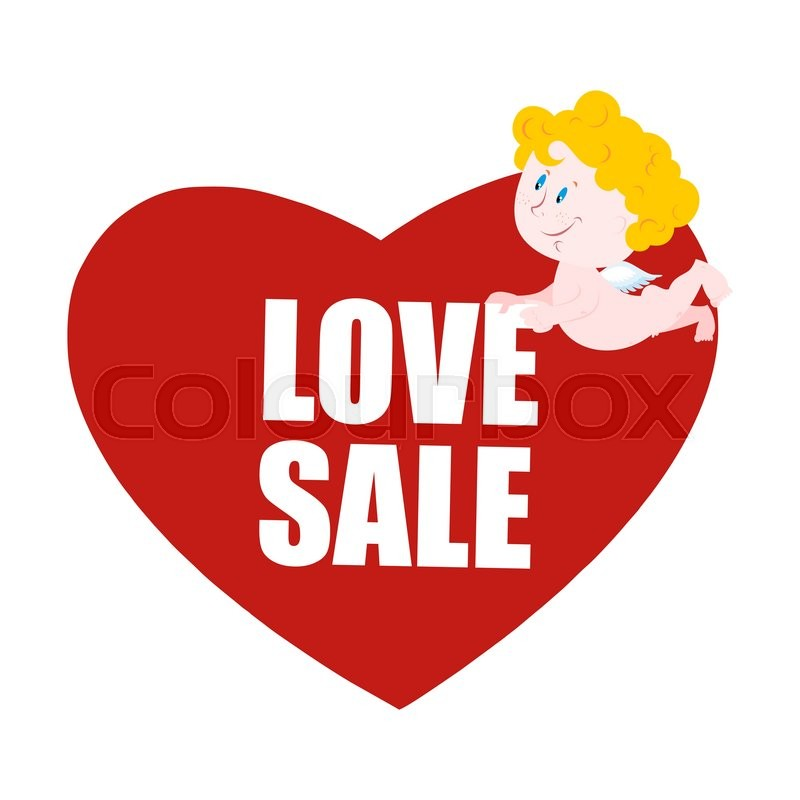 Sale Valentines Day Heart And Cupid Logo For Valentines Day