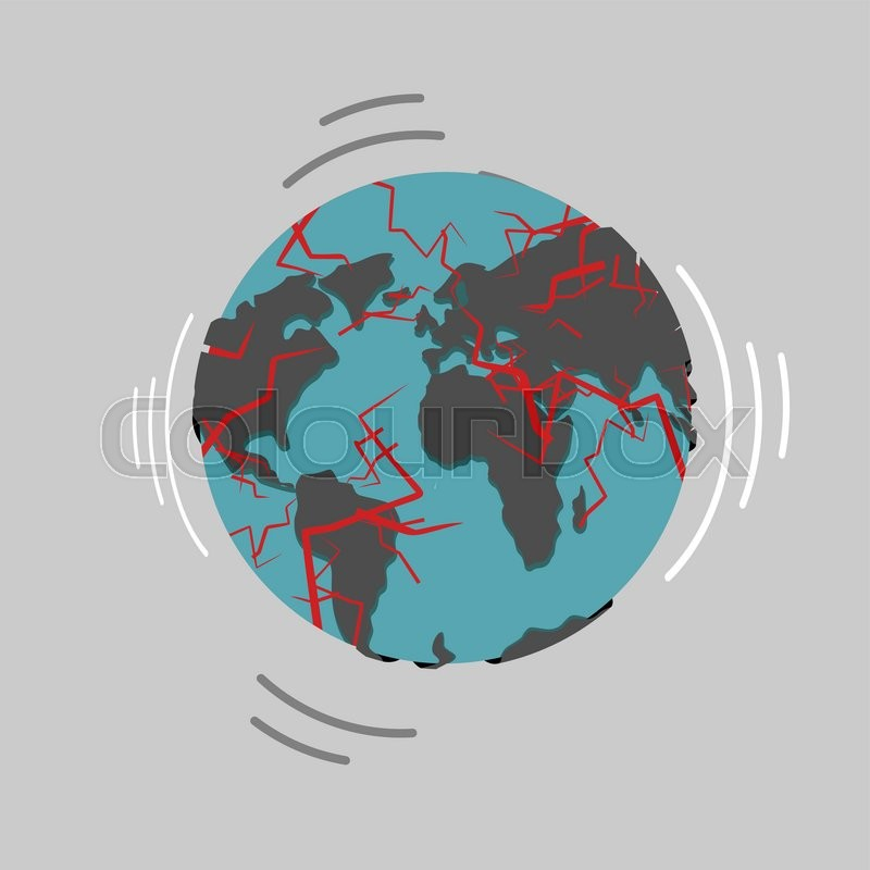 Earthquake earth destruction disaster fracture of the earths destruction of world continents of planet with cracks red magma in planets surface shattered globe apocalypse and disaster on world map vector sciox Images