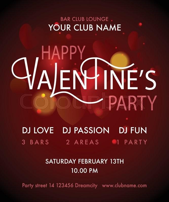 Happy Valentine\'s Day Party Flyer. Valentine\'s Day Party design ...