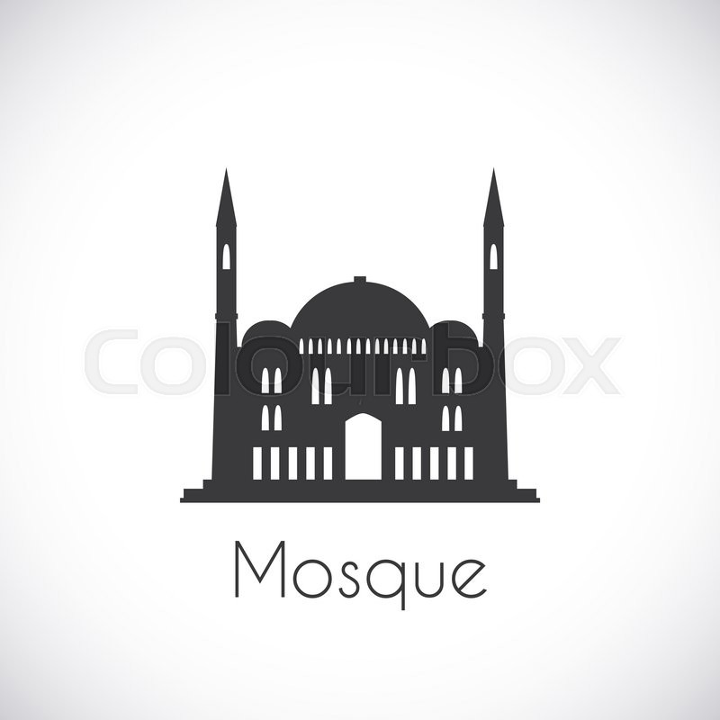 Single Flat Icon On White Background Muslim Cathedral Ramadan Kareem Pattern Traditional Arabic Architecture Asian Construction Symbol Of East