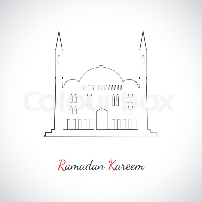 Single Flat Icon Of Mosque Isolated On White Background Logo Islamic Holy Building Ramadan Kareem Pattern Traditional Arabic Architecture