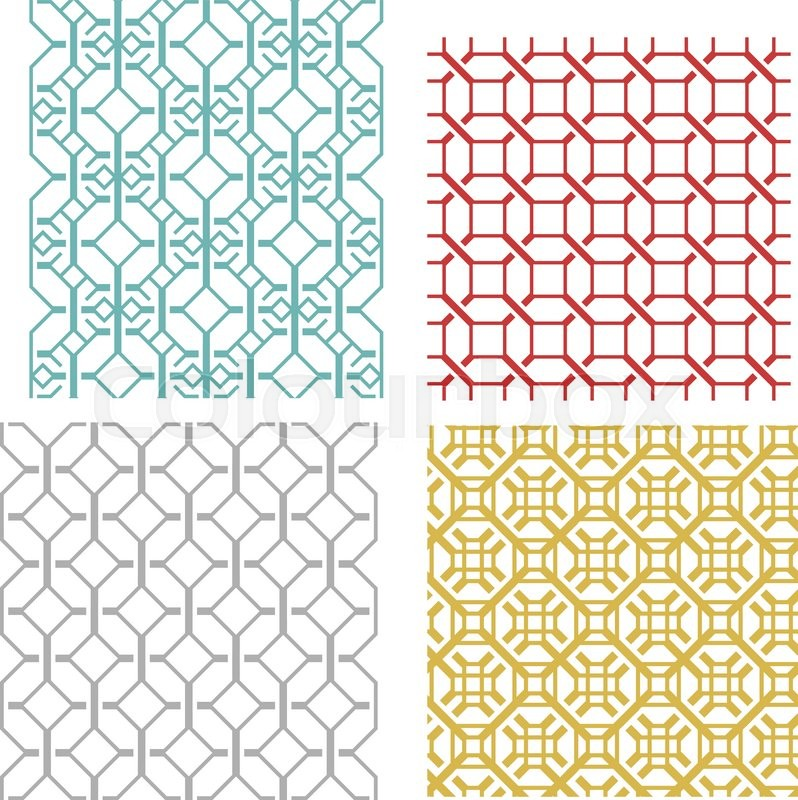 Set Of Geometric Seamless Weave Line Pattern And Texture