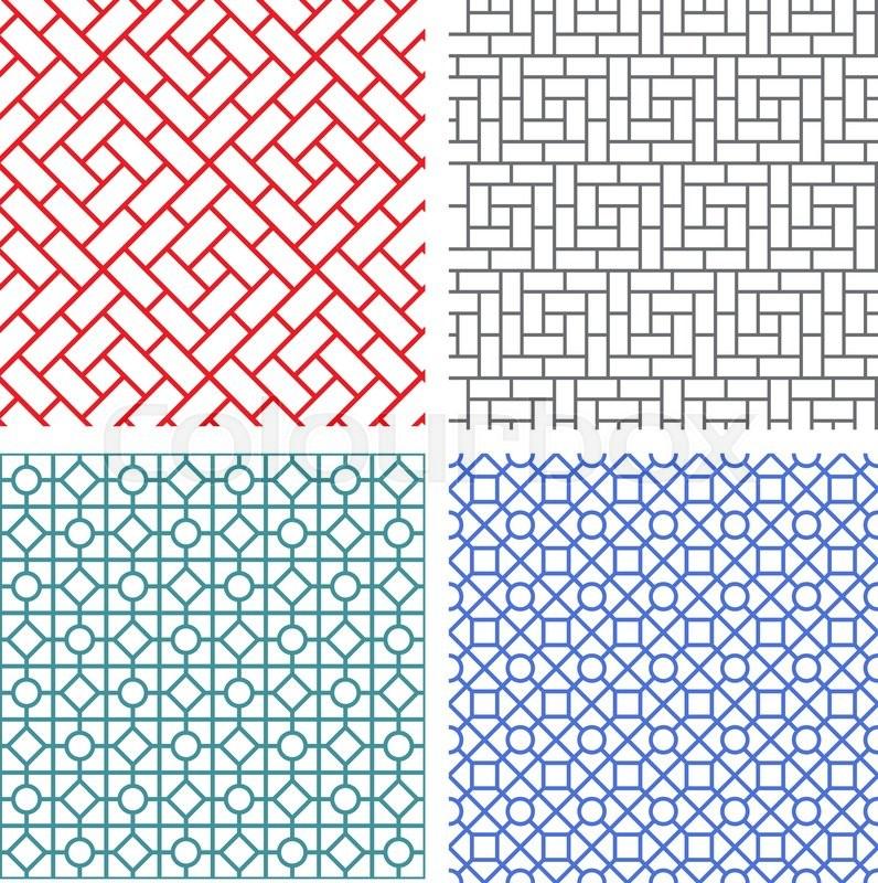 seamless mesh line pattern in korean style stock vector colourbox