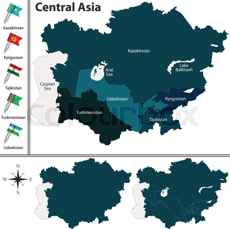 Vector of political map of Central Asia set with flags on white background