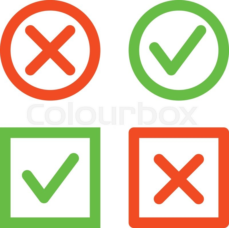 Set Of Check Mark Icons Tick And Cross Line Icons In Circle And