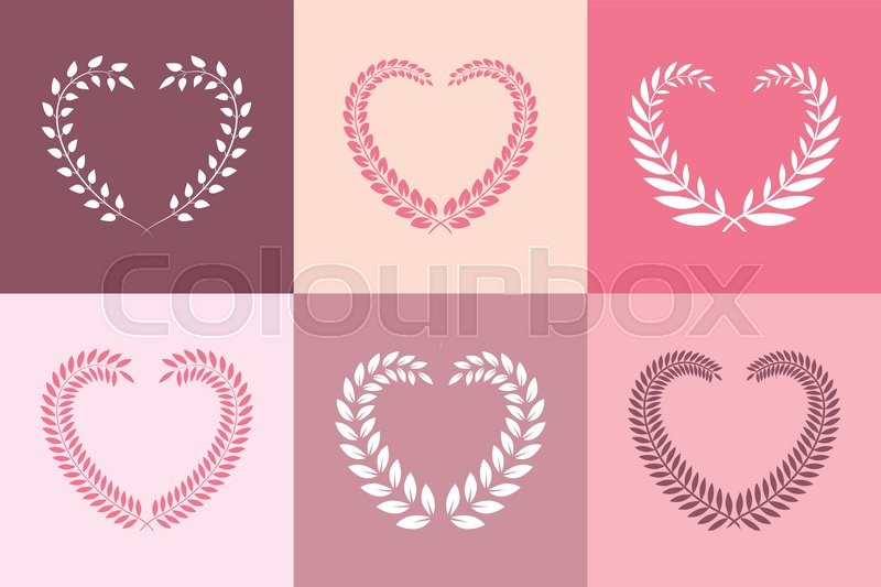 Set of wreaths in heart shape frame. Floral borders. Vector design ...