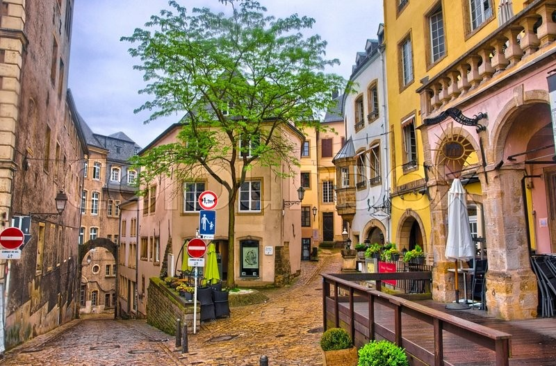 Luxembourg city luxembourg jun 2013 narrow medieval street with luxembourg city luxembourg jun 2013 narrow medieval street with cafes on june 9 2013 in luxembourg city luxembourg stock photo thecheapjerseys Images