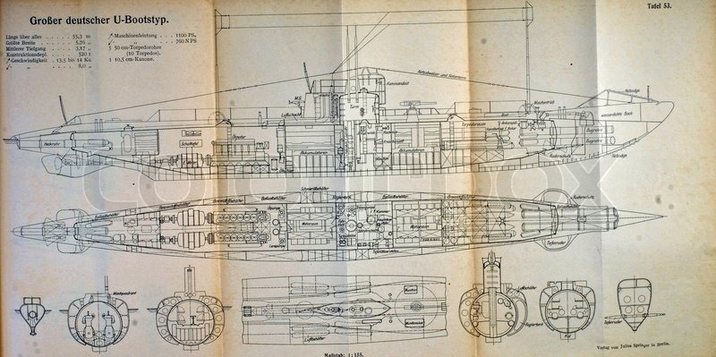 Blue Print of a German WW1 U boat | Stock image | Colourbox on
