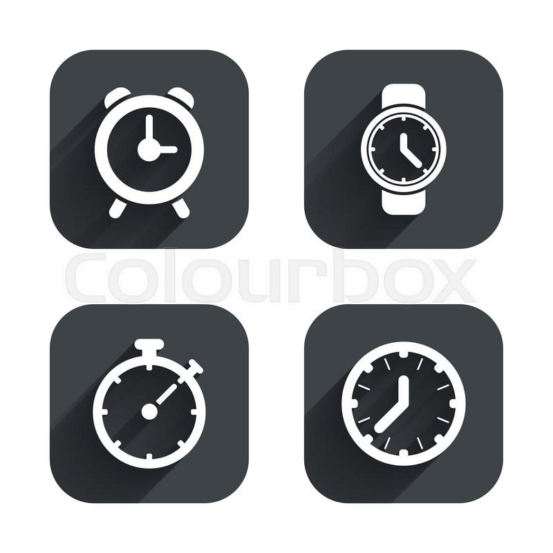 Mechanical Clock Time Icons Stopwatch Timer Symbol Wake Up Alarm