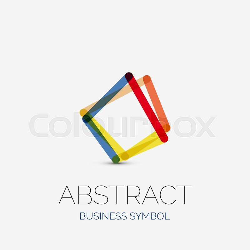 Minimalistic Linear Business Icons Logos Made Of Multicolored Line