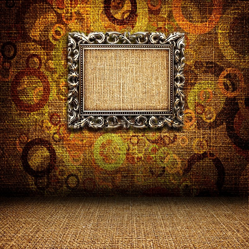 Iron frame on the wall in the interior grunge, stock photo