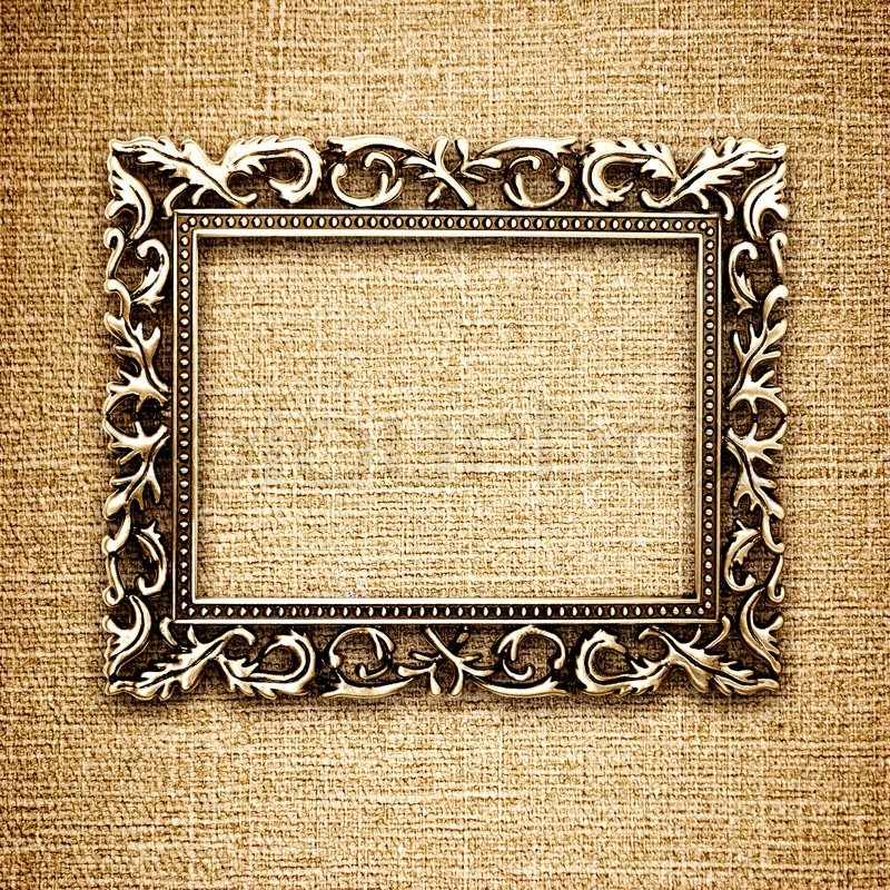 goldenen rahmen auf einer leinwand hintergrund stock foto. Black Bedroom Furniture Sets. Home Design Ideas