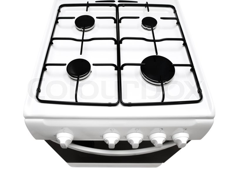 Top view of white gas stove with ipen stove over the white