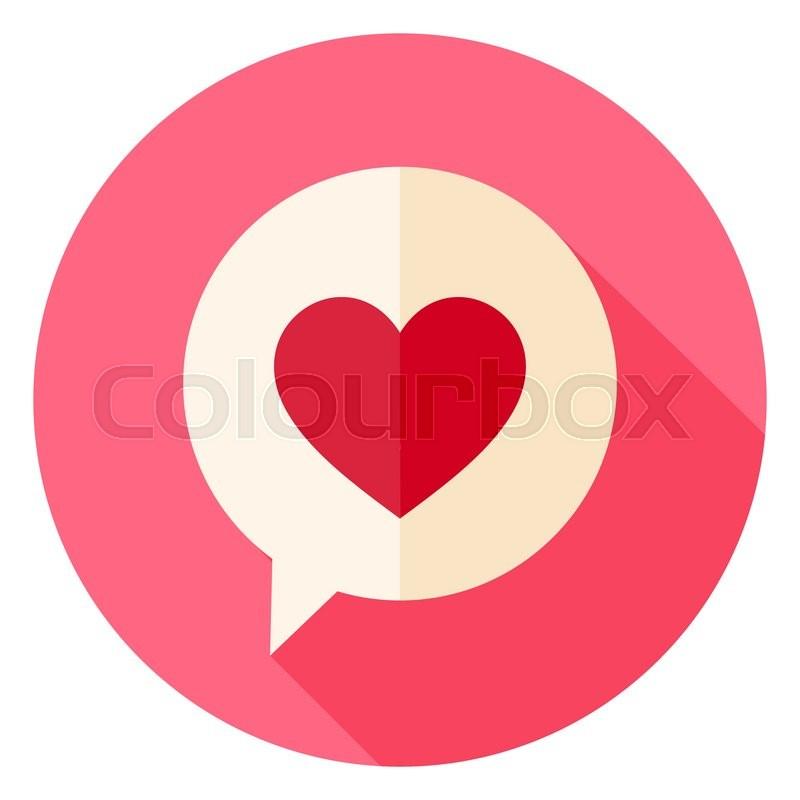 Love Heart Speech Bubble Circle Icon Flat Design Vector