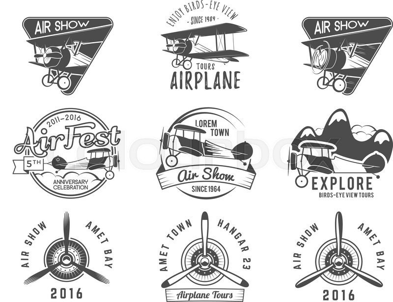 Vintage Airplane Emblems Biplane Labels Retro Plane Badges And Design Elements Aviation Stamps Collection Airshow Logo Logotype