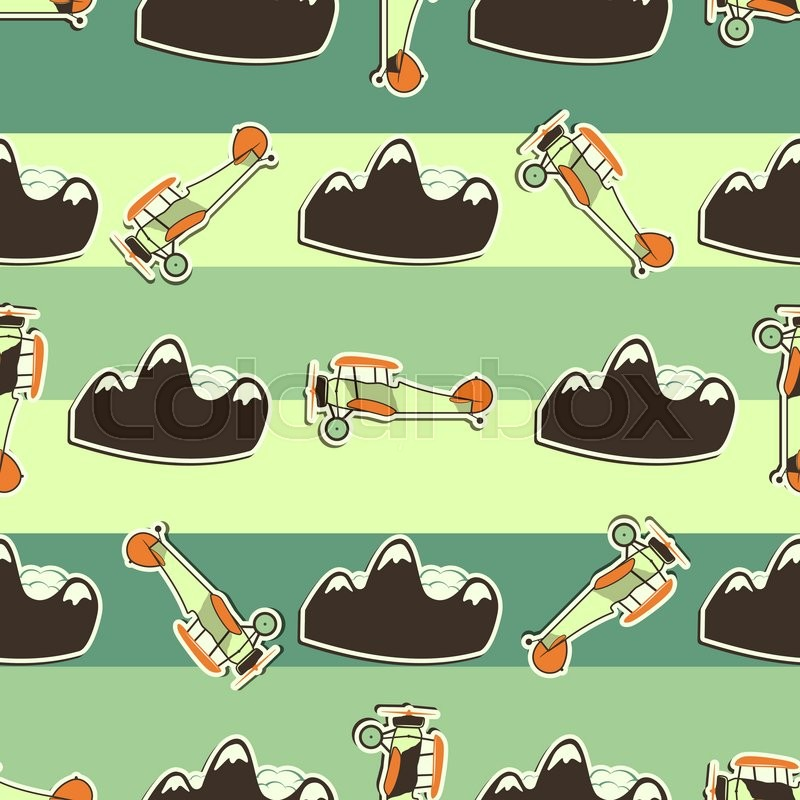 Cute airplane pattern. Doodle style. Old Biplanes seamless ...