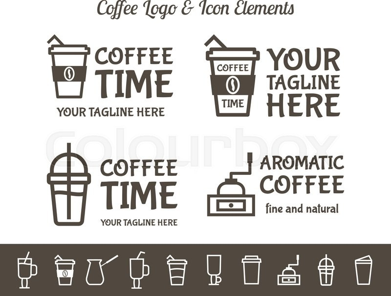 set of vector coffee elements and restaurant line icons accessories