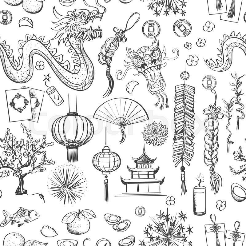 Seamless Chinese New Year pattern- Happy new year. Spring and ...