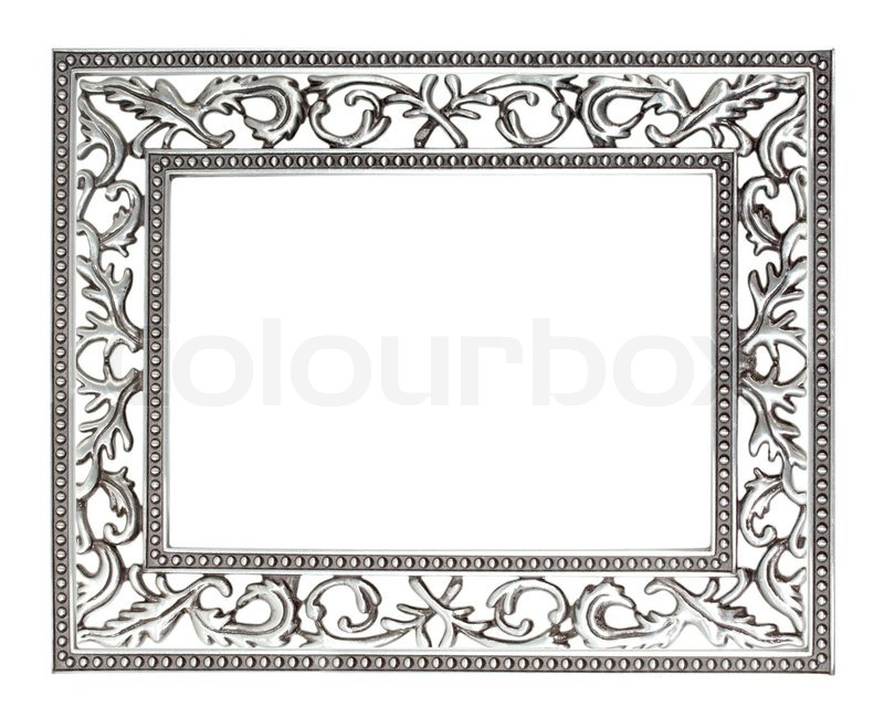 antique silver frame isolated with clipping path stock. Black Bedroom Furniture Sets. Home Design Ideas