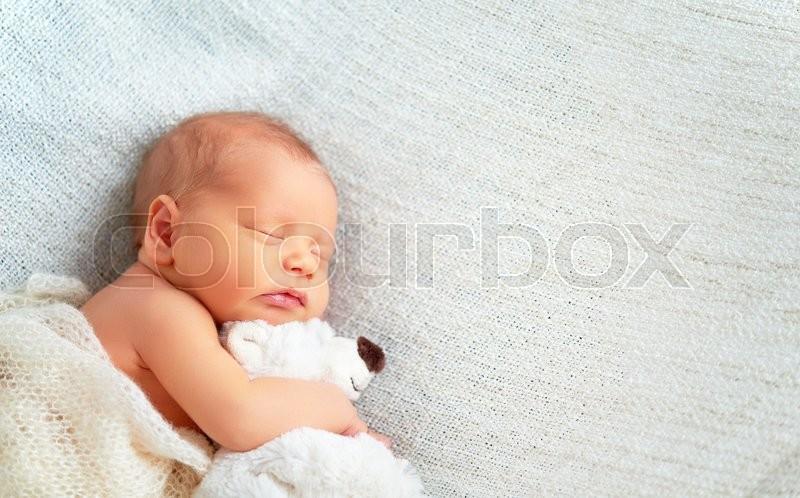Cute newborn baby sleeps with a toy teddy bear white, stock photo