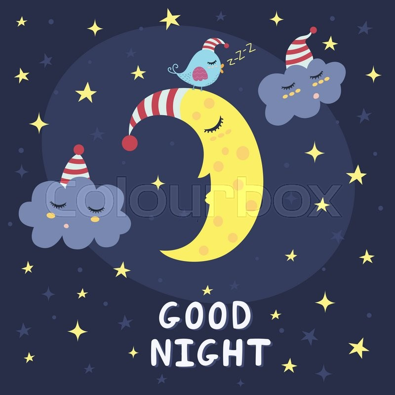 Good Night Card With The Cute Sleeping Moon Clouds And A Bird