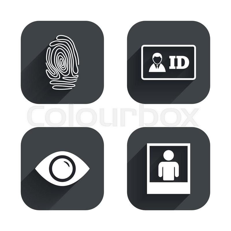 Identity Id Card Badge Icons Eye And Fingerprint Symbols